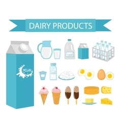 Dairy products icon set flat style Milk vector
