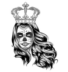 Day dead girl black and white vector