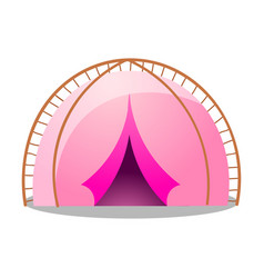 Dome tent in pink color concept raster vector