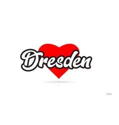 Dresden city design typography with red heart vector