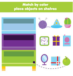 Educational children game match objects by color vector