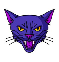 Evil magic witch cat muzzle mystic alchemy vector