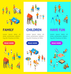 families spending free time 3d banner vecrtical vector image