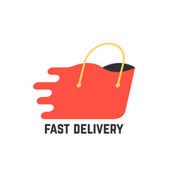 fast delivery with red shopping bag vector image