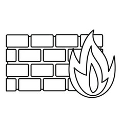 firewall icon outline style vector image