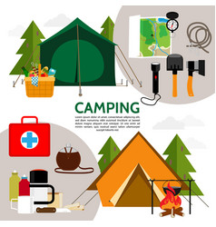 Flat camping icons composition vector