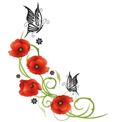 Flowers butterflies poppies vector