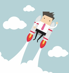 Flying businessman with jetpack vector