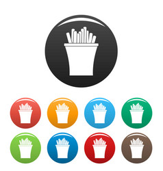 french fries icons set color vector image