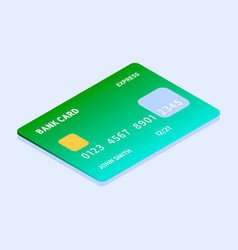 green credit card icon isometric style vector image