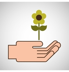 hands care environment flower nature vector image