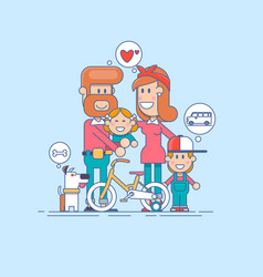 Happy family father mother and two children vector