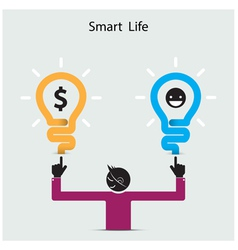 Happy young man symbol with smart life concept vector image