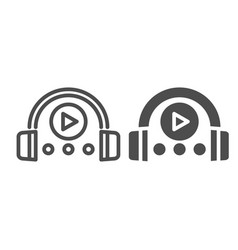 Headphones and player line and glyph icon vector