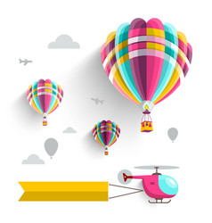 hot air balloons and helicopter on sky isolated vector image