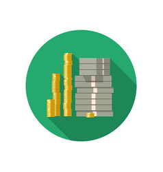 icon of dollars and coins vector image