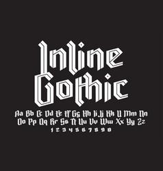 inline gothic alphabet vector image