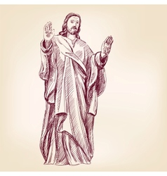 Jesus Christ Christianity hand drawn llustration vector
