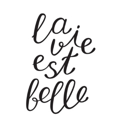 La vie est bell life is beautiful in French vector image