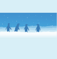 Landscape of penguin on snow silhouette vector