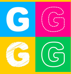 letter g sign design template element four styles vector image