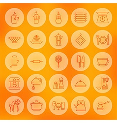 Line Circle Cooking Food and Utensil Icons Set vector