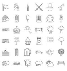 london icons set outline style vector image