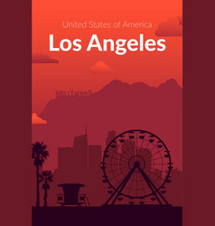 Los angeles usa famous city scape background vector