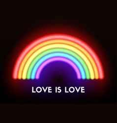 love is love neon rainbow vector image