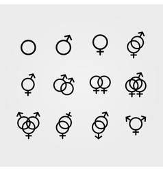 Male and Female sexual orientation icons vector image