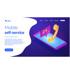 Mobile customer service isometric 3d landing page vector