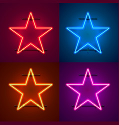 Neon frame sign in the shape of a star vector