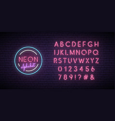 neon pink font english alphabet and numbers sign vector image