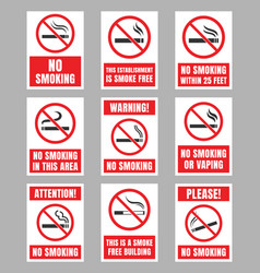 no smoking signboard set smoking is prohibited vector image