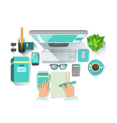 Office worplace with utilities and stationary vector