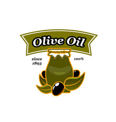 Olive oil jar pitcher and olives icon vector