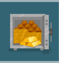 opened safe with gold flat style vector image
