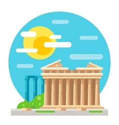 Parthenon flat design landmark vector