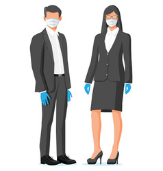 People wearing virus protection face mask vector
