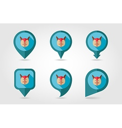 Pheasant flat pin map icon Animal head vector