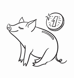 piggy bank template for greeting card black vector image