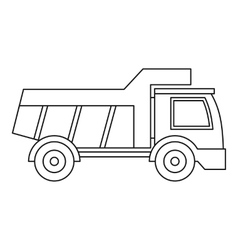 Plastic toy truck icon outline style vector image