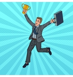 Pop Art Businessman Running with Golden Winner Cup vector image