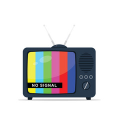 retro tv with antenna no signal vector image