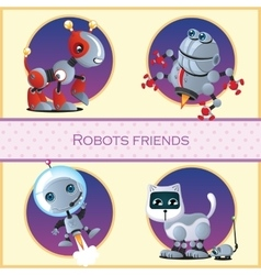 Robot dog beetle astronaut and cat with mouse vector