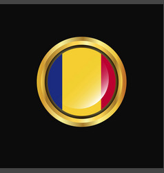 romania flag golden button vector image