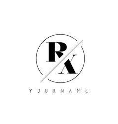 rx letter logo with cutted and intersected design vector image