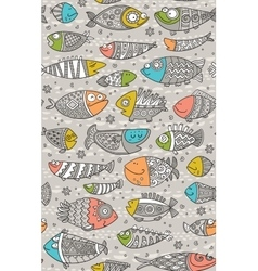 Sea seamless pattern with decorative fish in vector