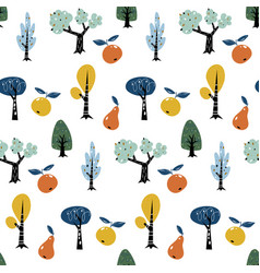 Seamless pattern with colorful autumn forest trees vector