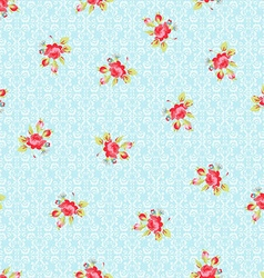 seamless pattern with small red roses vector image